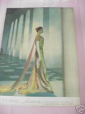 1954 Modess Tampons Color Ad Woman In Gold Gown