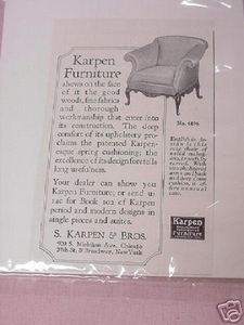 1918 Ad Karpen Furniture Featuring An Easy Chair