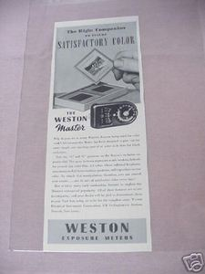 1941 The Weston Master Exposure Meter Photography Ad