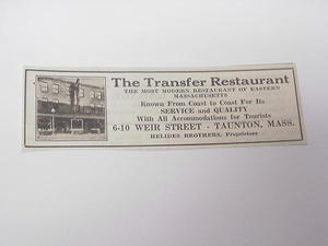 1927 Ad The Transfer Restaurant, Taunton, Mass.