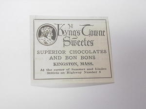 1927 Ad Ye Kings Towne Sweetes, Kingston, Mass.