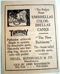 1923 Ad Tukaway Umbrellas Siegel, Rothschild & Co.