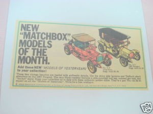 1969 Ad Matchbox Models of the Month Stutz, Pugeot