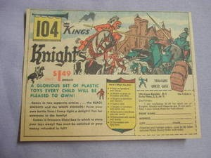 1962 Ad 104 Knights A Glorious Set of Plastic Toys
