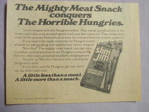 1978 Ad Slim Jim The Mighty Meat Snack Conquers The Horrible Hungries