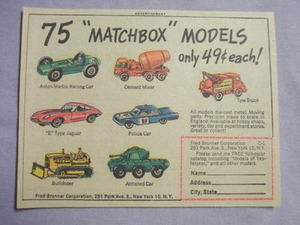1964 Ad 75 Matchbox Models By Fred Bonner Corporation