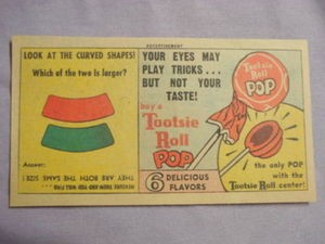 1963 Ad Tootsie Roll Pop Your Eyes May Play Tricks...But Not Your Taste!