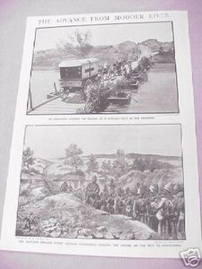 1900 Boer War Illustrated Page Modder River Advance
