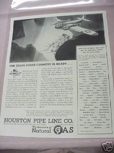 1941 Ad Houston Pipe Line Co. Natural Gas Wholesalers
