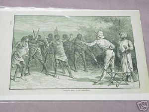 1889 Africa Illustrated Page Speke's Boat Crew Alarmed