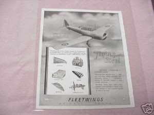 1941 Ad Fleetwings Inc. Bristol Pa. Military Air Wings