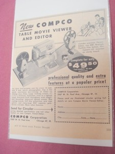 1956 Ad-Compco Table Movie Viewer and Editor