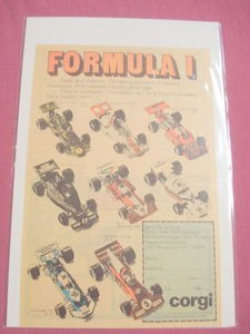 1975 Corgi Formula I Diecast Car Color Ad