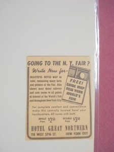 1939 New York World's Fair Hotel Great Northern Ad